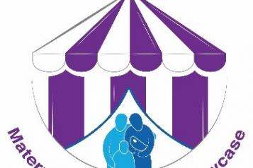 graphic of striped tent and family