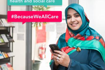 Woman smiles at camera next to speech bubbles containing text 'Share your feedback on health and social care'