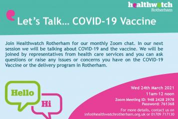 Let's Talk event discussing the Covid-19 vaccines available